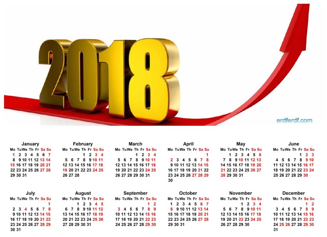 12 Month Calendar 2018 Printable Free