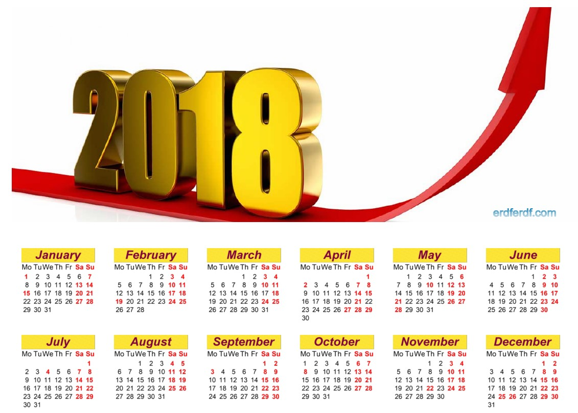 12 Month Calendar 2018 Printable Yellow Table Header