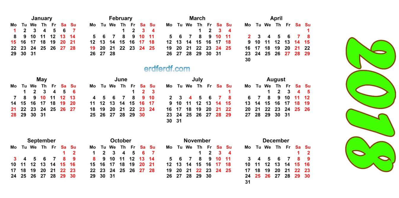 2018 Blank Calendar Printable Editable