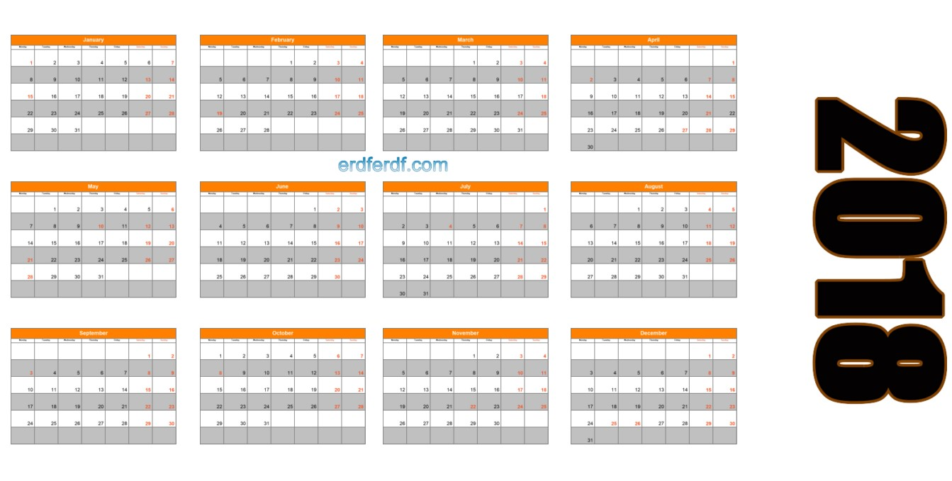 2018 Blank Calendar Printable Orange Header Table