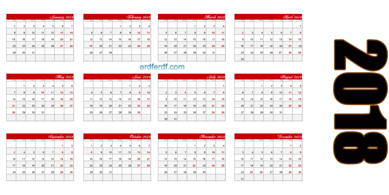 2018 Blank Calendar Printable Read Header Table