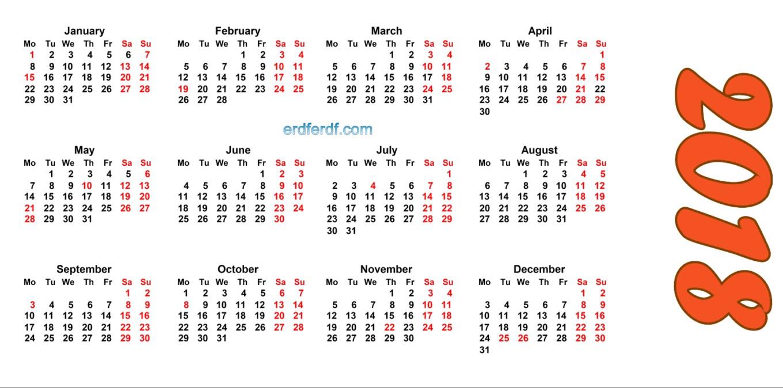 2018 Blank Calendar Printable