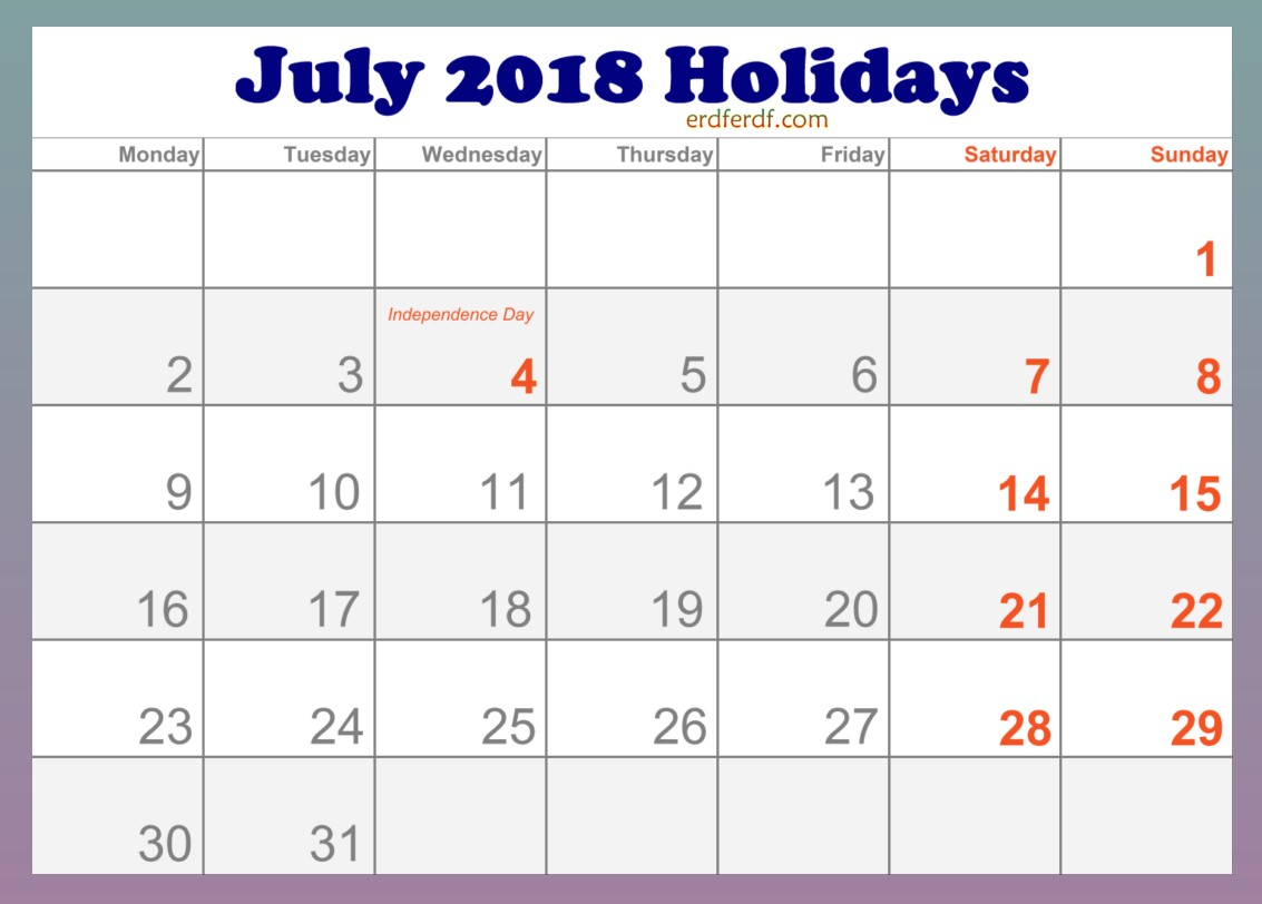 2018 July Holidays Calendar in USA Editable