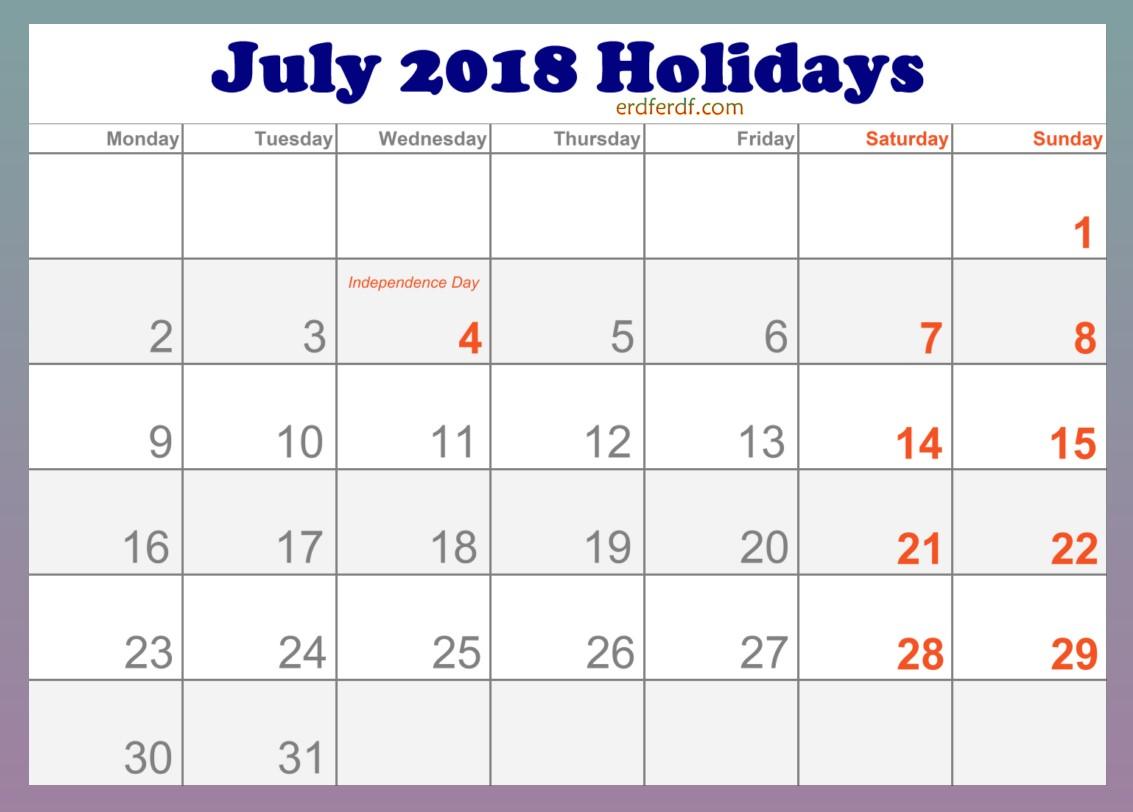 2018 July Holidays Calendar in USA Editable