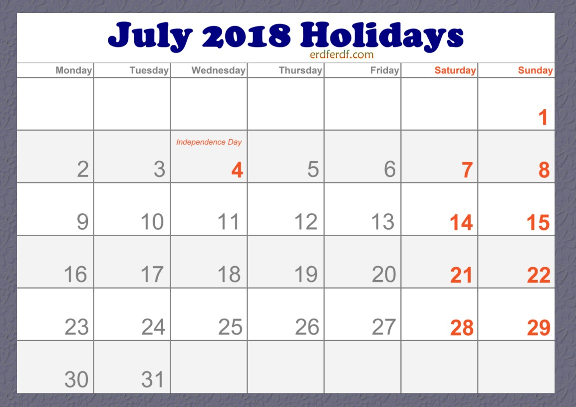 2018 July Holidays Calendar in USA Free Download
