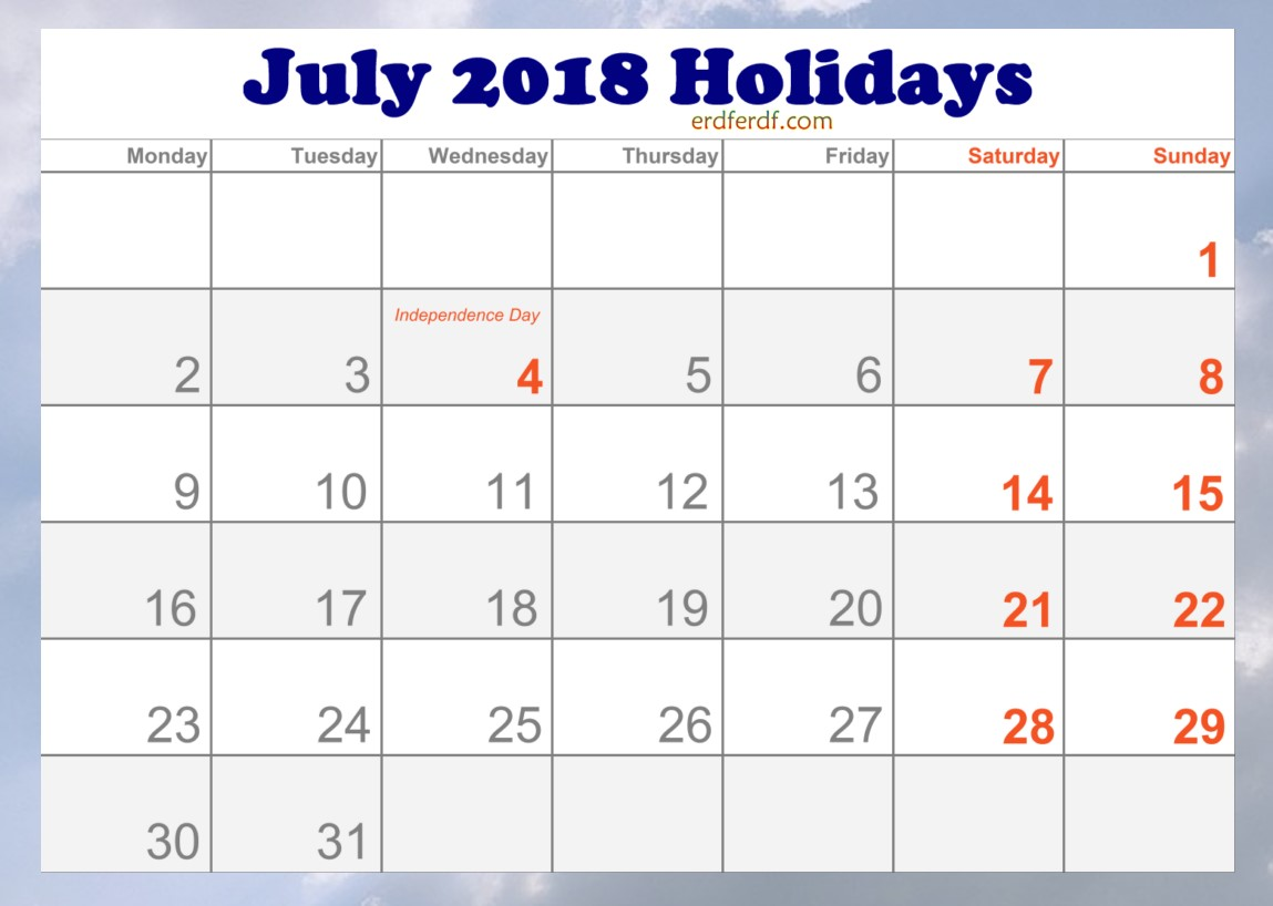 2018 July Holidays Calendar in USA Printable