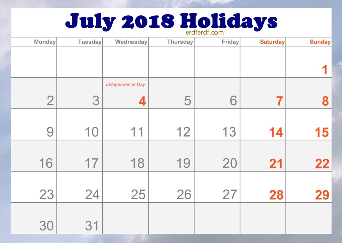 2018 July Holidays Calendar in USA Printable