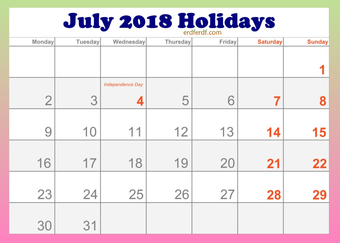 2018 July Holidays Calendar in USA Template