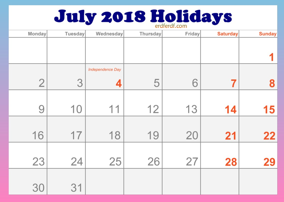 2018 July Holidays Calendar in USA
