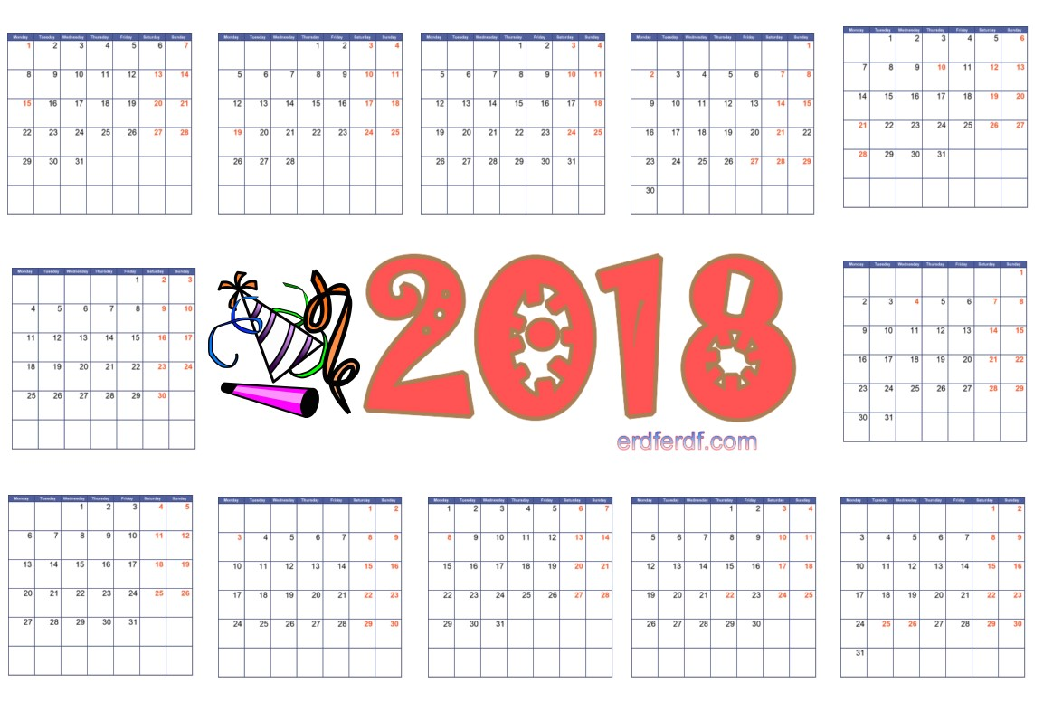 2018 Monthly Calendar Printable Free Pdf