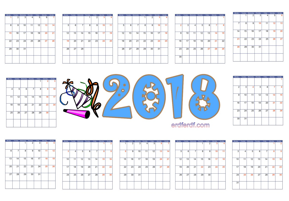 2018 Year Calendar Printable Blank Table