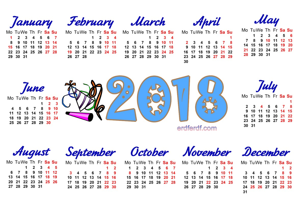 2018 Year Calendar Printable Download