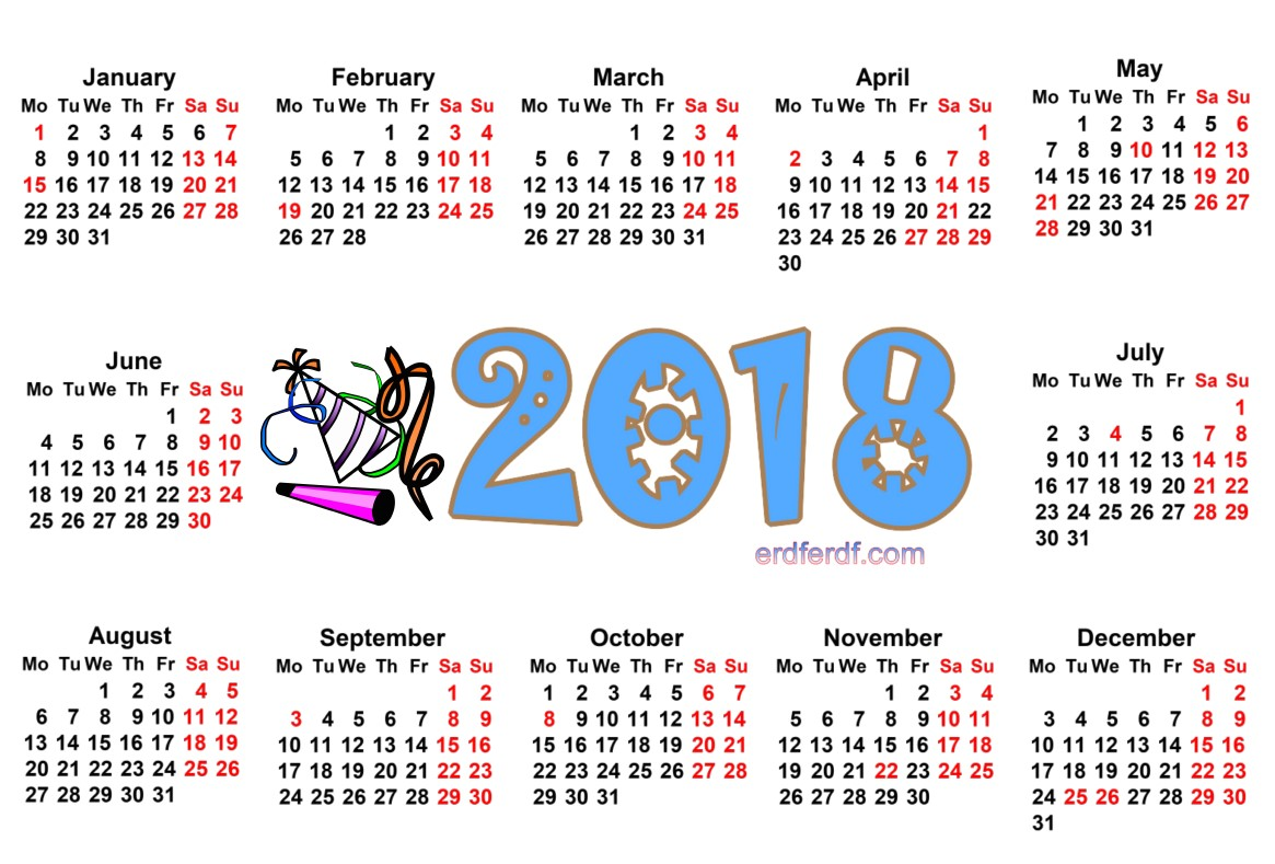 2018 Year Calendar Printable Free For Yout