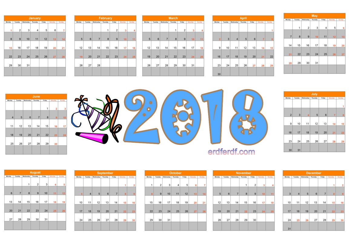 2018 Year Calendar Printable Simple
