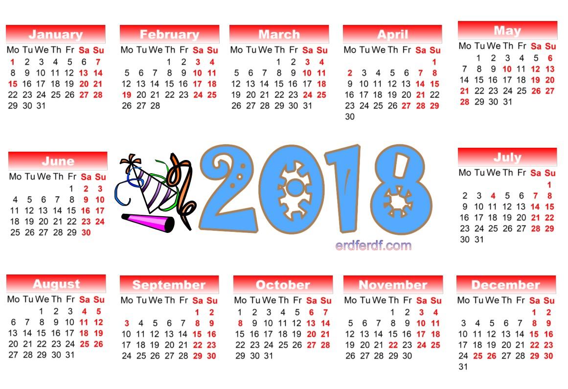 2018 Year Calendar Printable Calendar Template Printable
