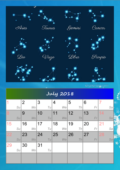 Calendar For July 2018 Zodiac Download