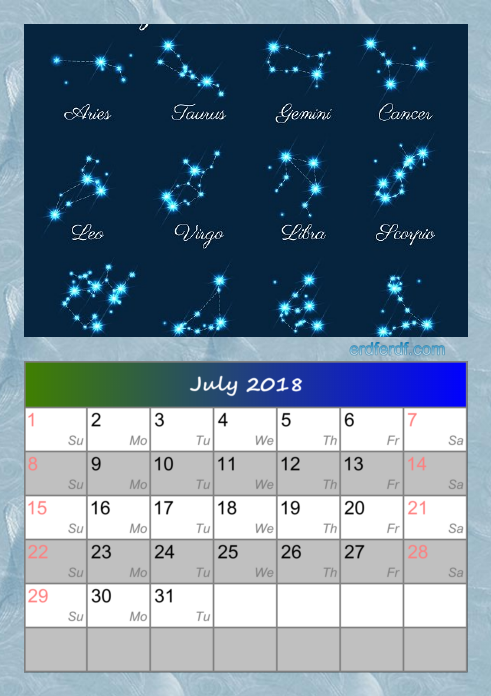 Calendar For July 2018 Zodiac Template