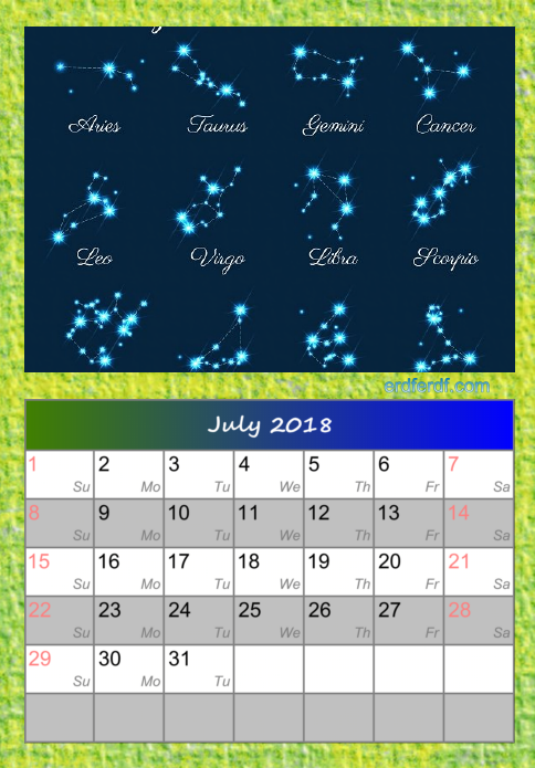 Calendar For July 2018 Zodiac