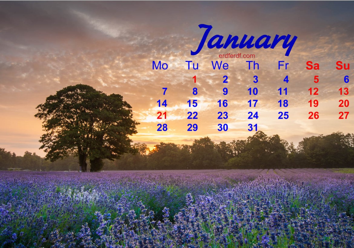 December 2018 Calendar Printable Lavender