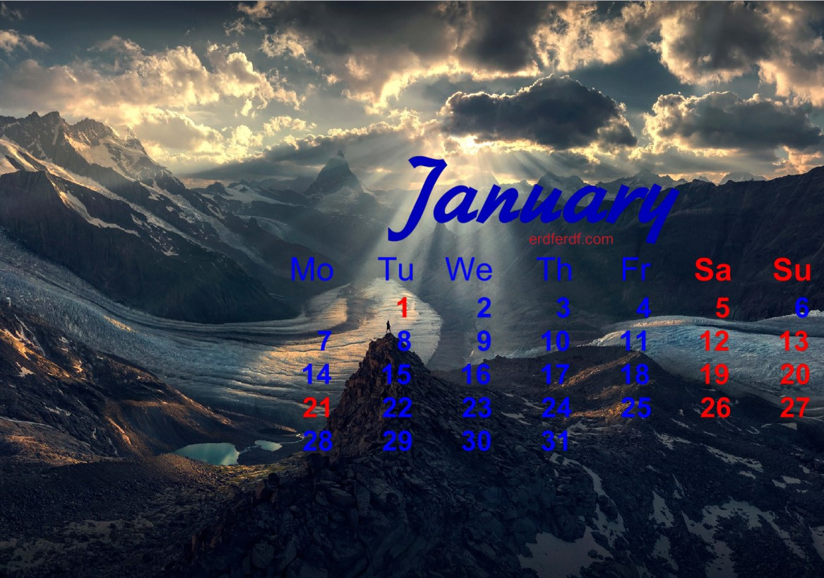 December 2018 Calendar Printable Snow Mountain