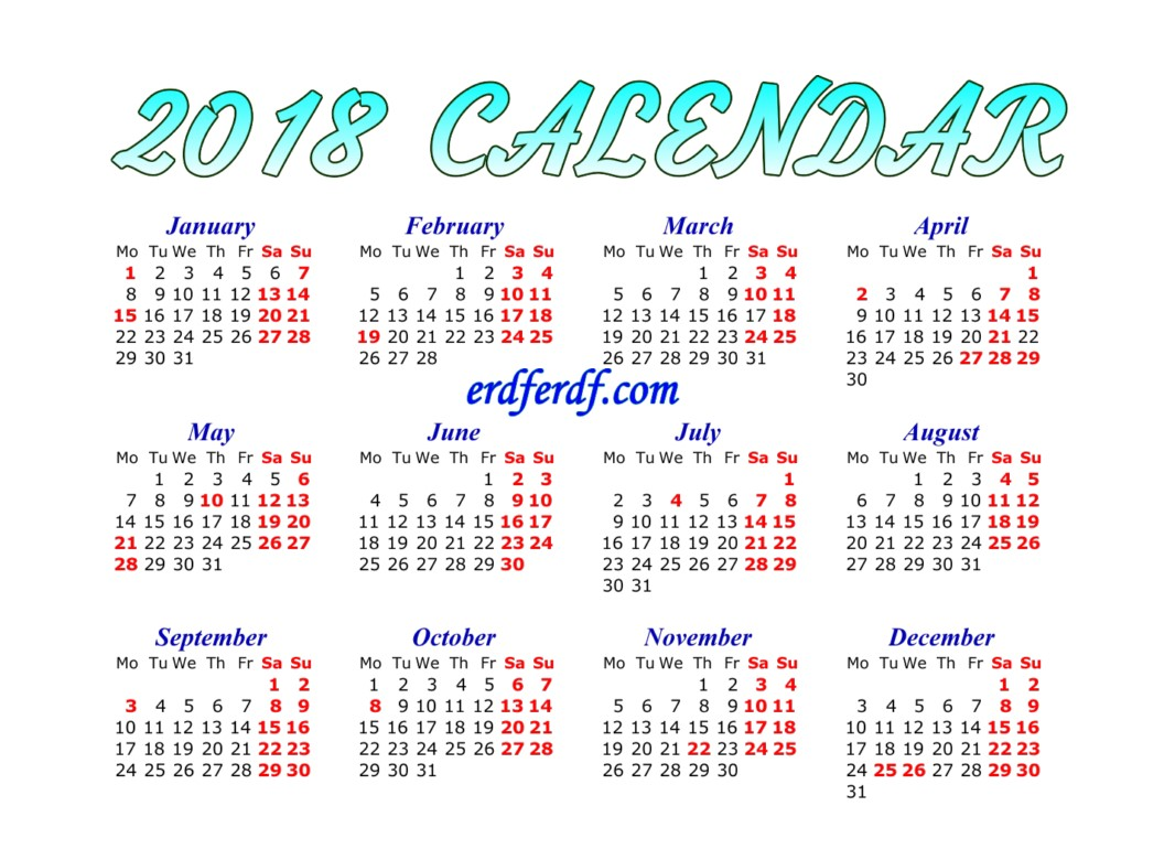 Full Page Printable Monthly Calendar For 2018 Download