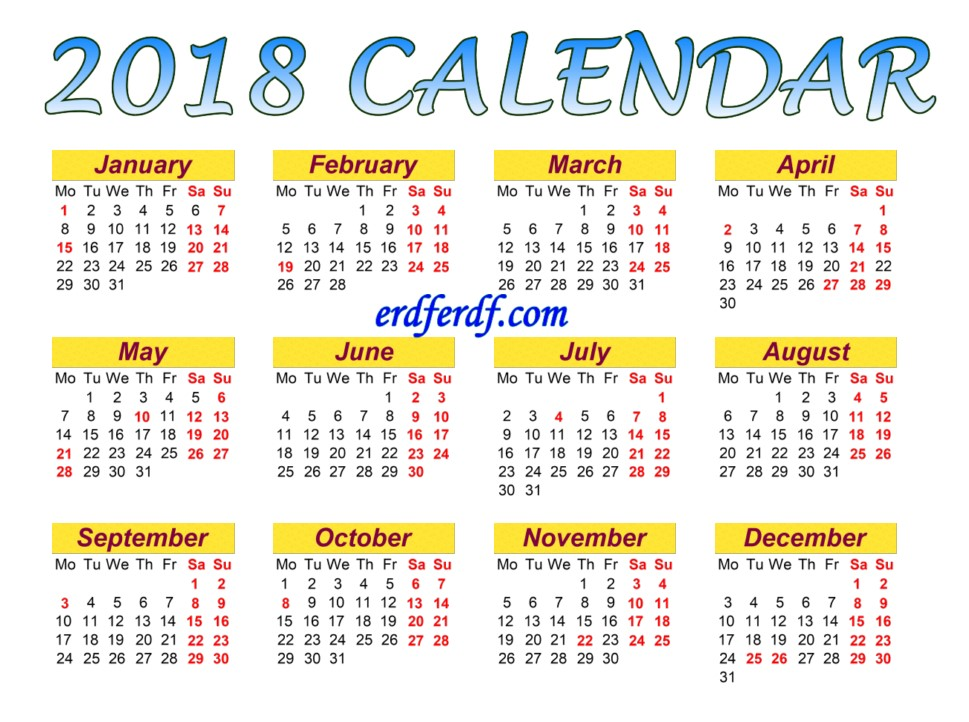 Full Page Printable Monthly Calendar For 2018 Picture