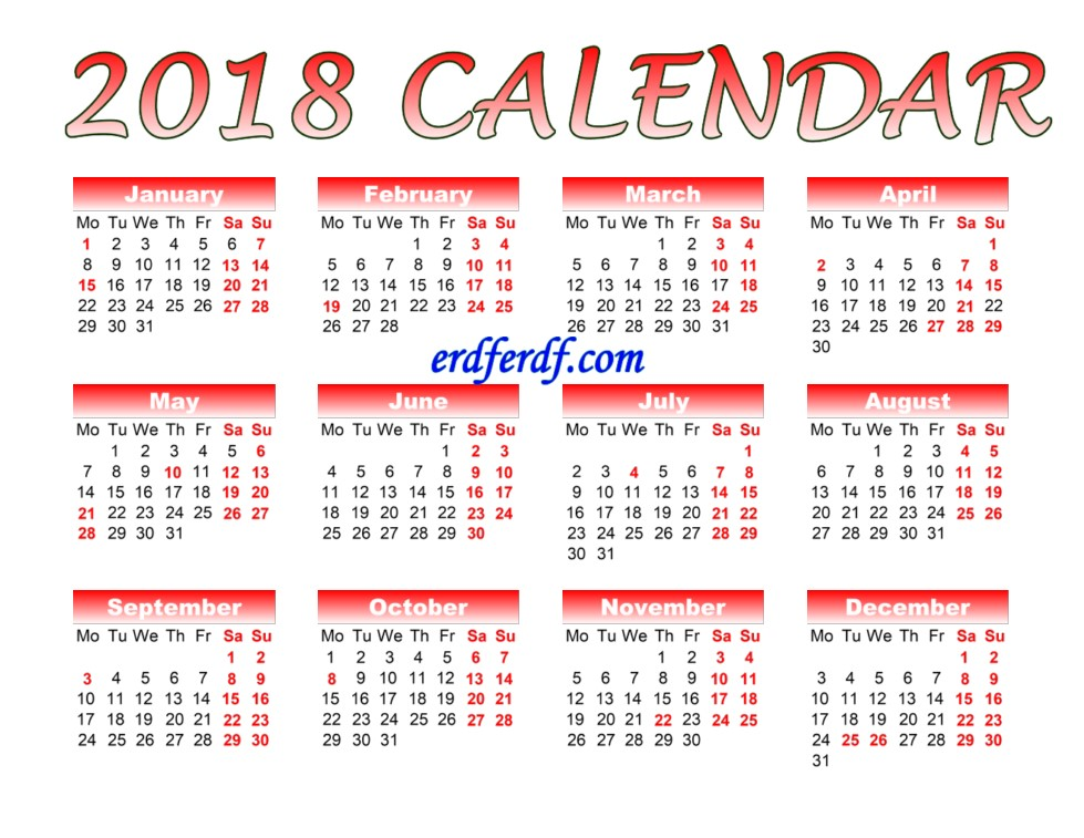 Full Page Printable Monthly Calendar For 2018 Red Color Template