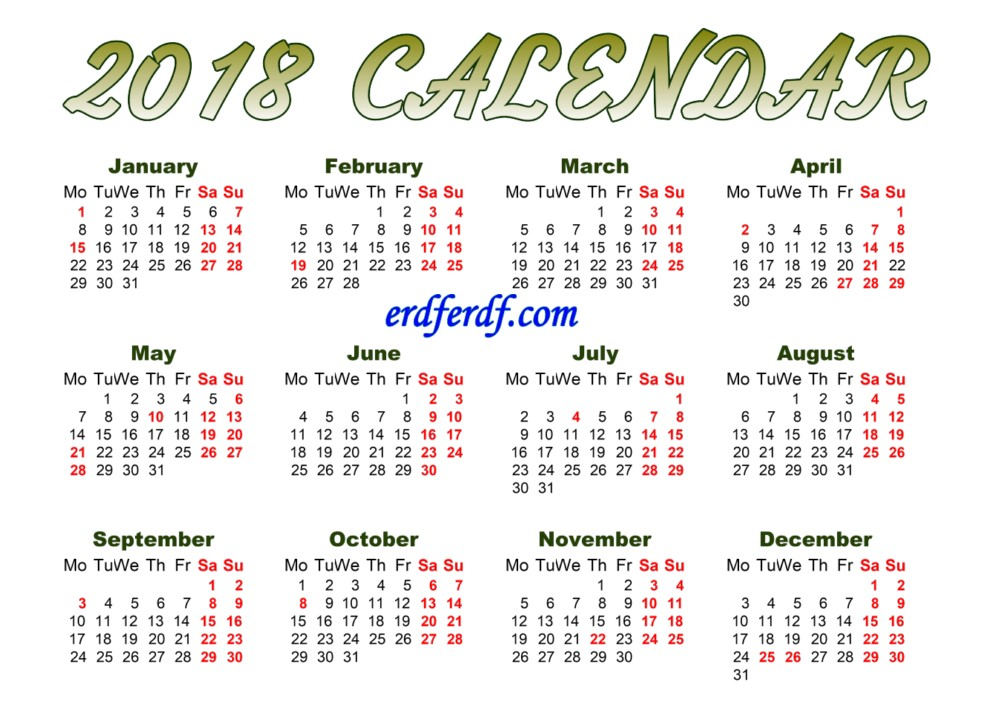 Full Page Printable Monthly Calendar For 2018