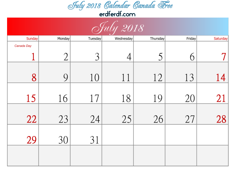 July 2018 Calendar Canada Free Download
