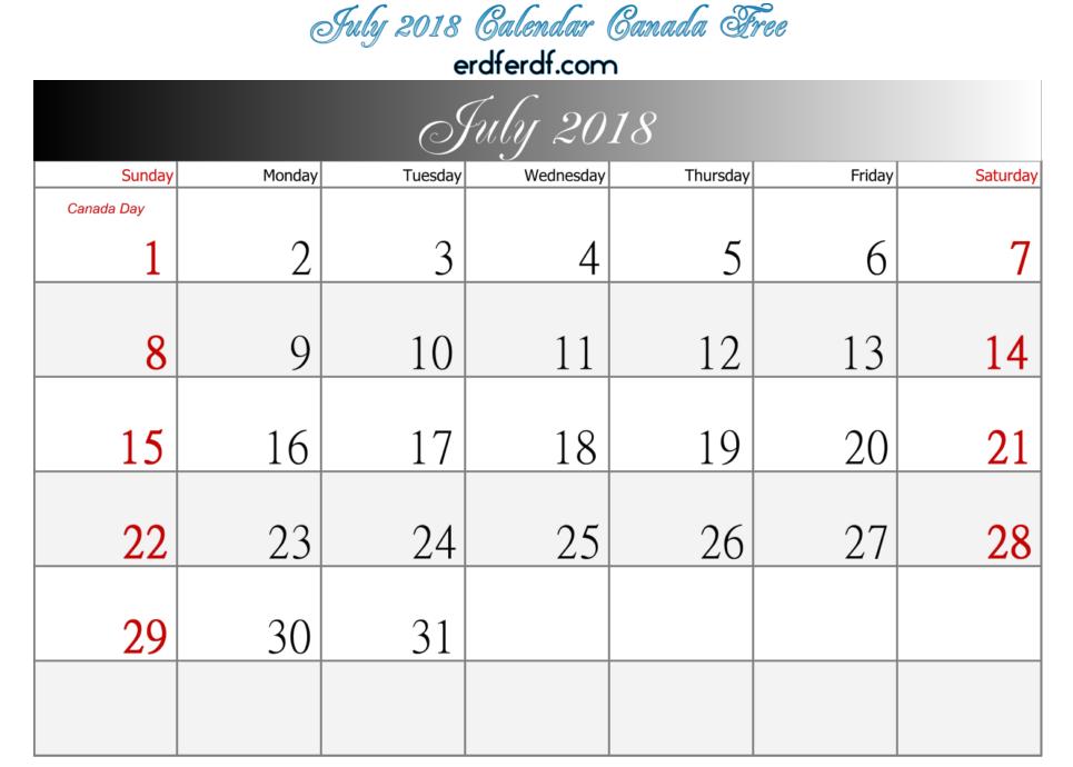 July 2018 Calendar Canada Free