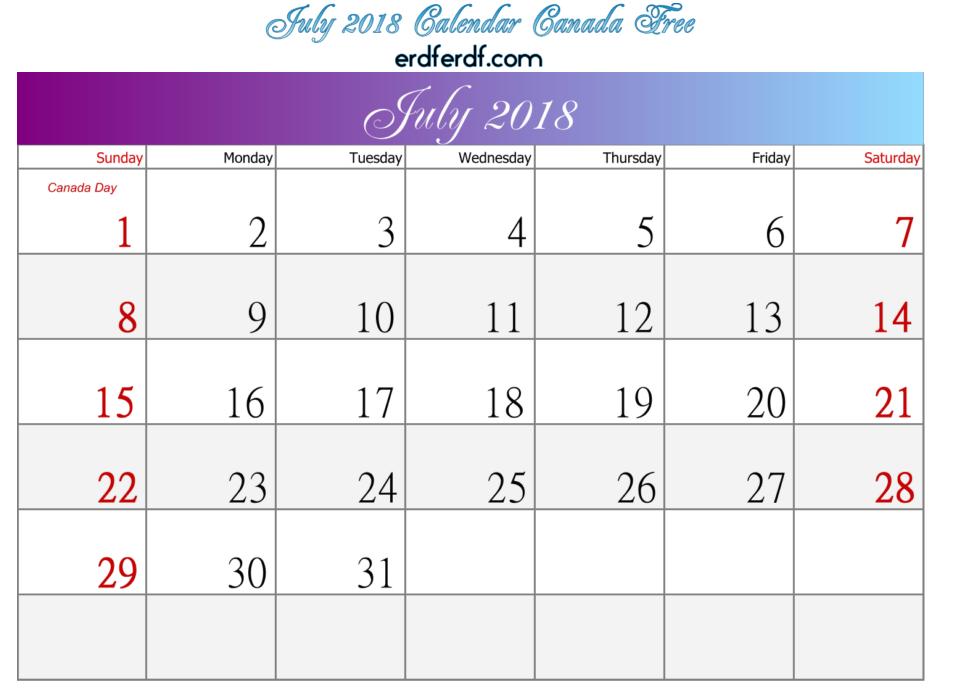 July 2018 Calendar Canada Free Printable