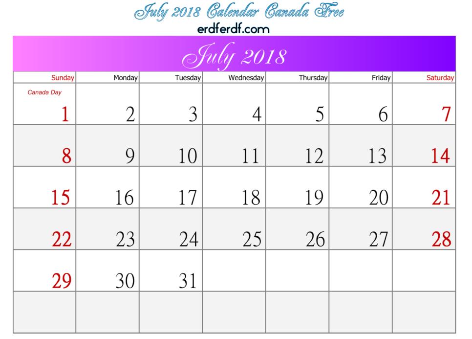 July 2018 Calendar Canada Free Template