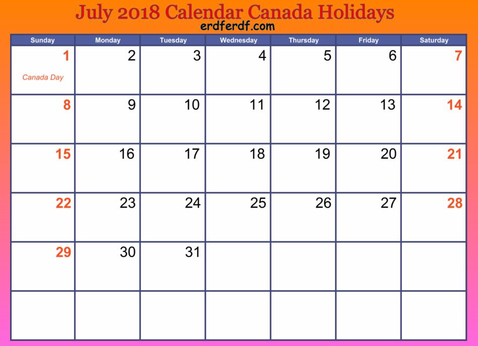 July 2018 Calendar Canada Holidays Orange Background