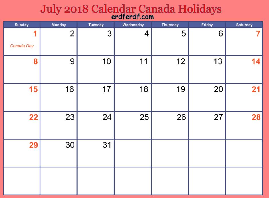 July 2018 Calendar Canada Holidays Simple