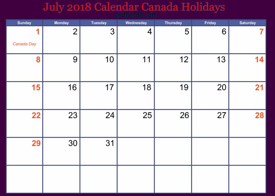 July 2018 Calendar Canada Holidays Template