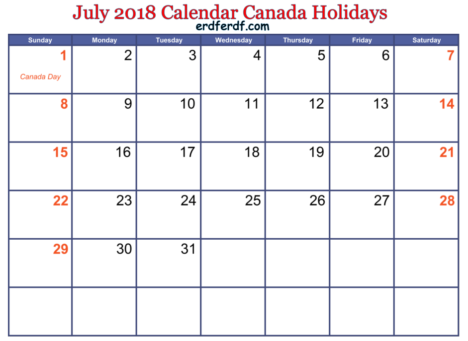 July 2018 Calendar Canada Holidays