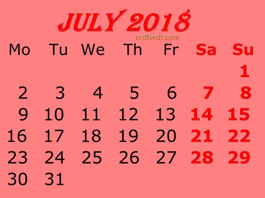 July 2018 Calendar Template Printable