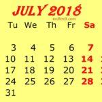 July 2018 Printable PDF