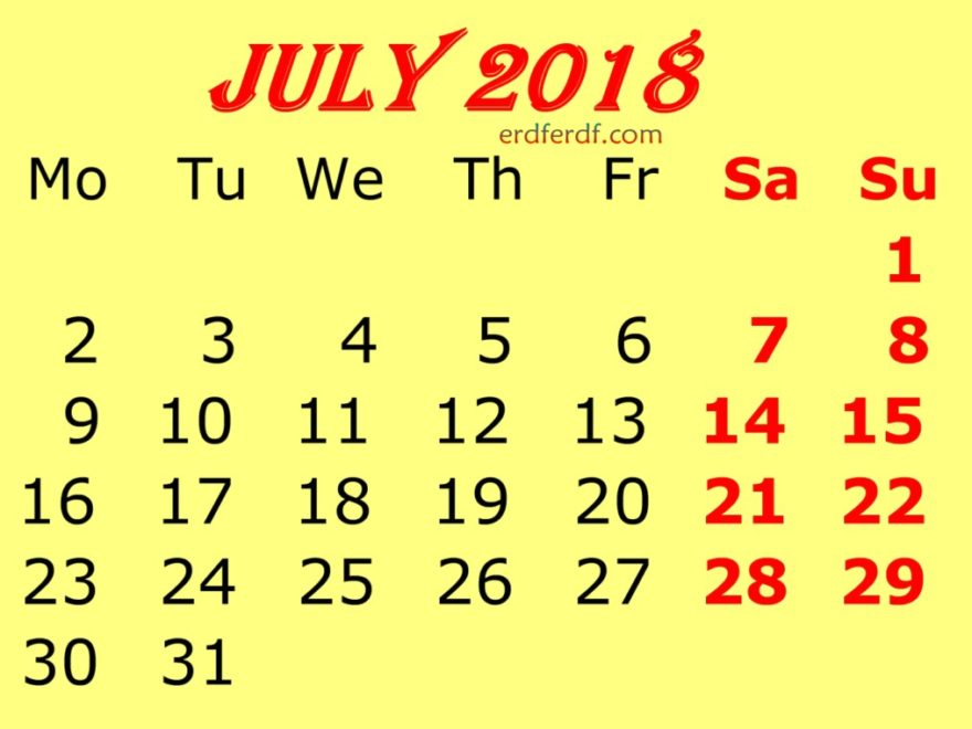 July 2018 Calendar Template Yellow