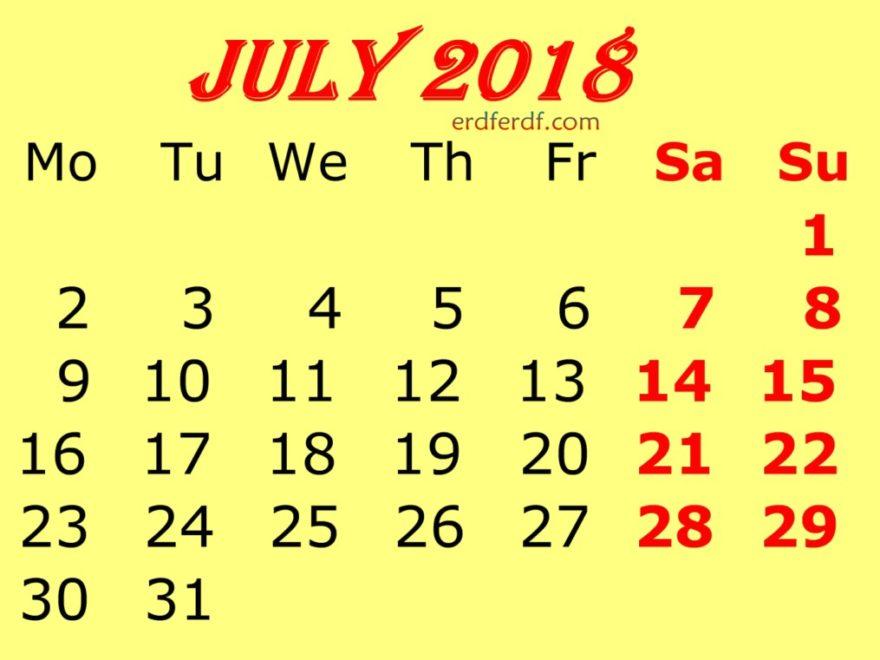 July 2018 Calendar Template Yellow