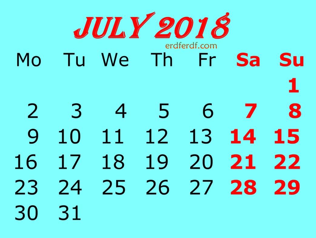 July 2018 Calendar Template blue