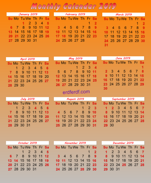 July 2019 Calendar Canada Monthly Orang backgorund