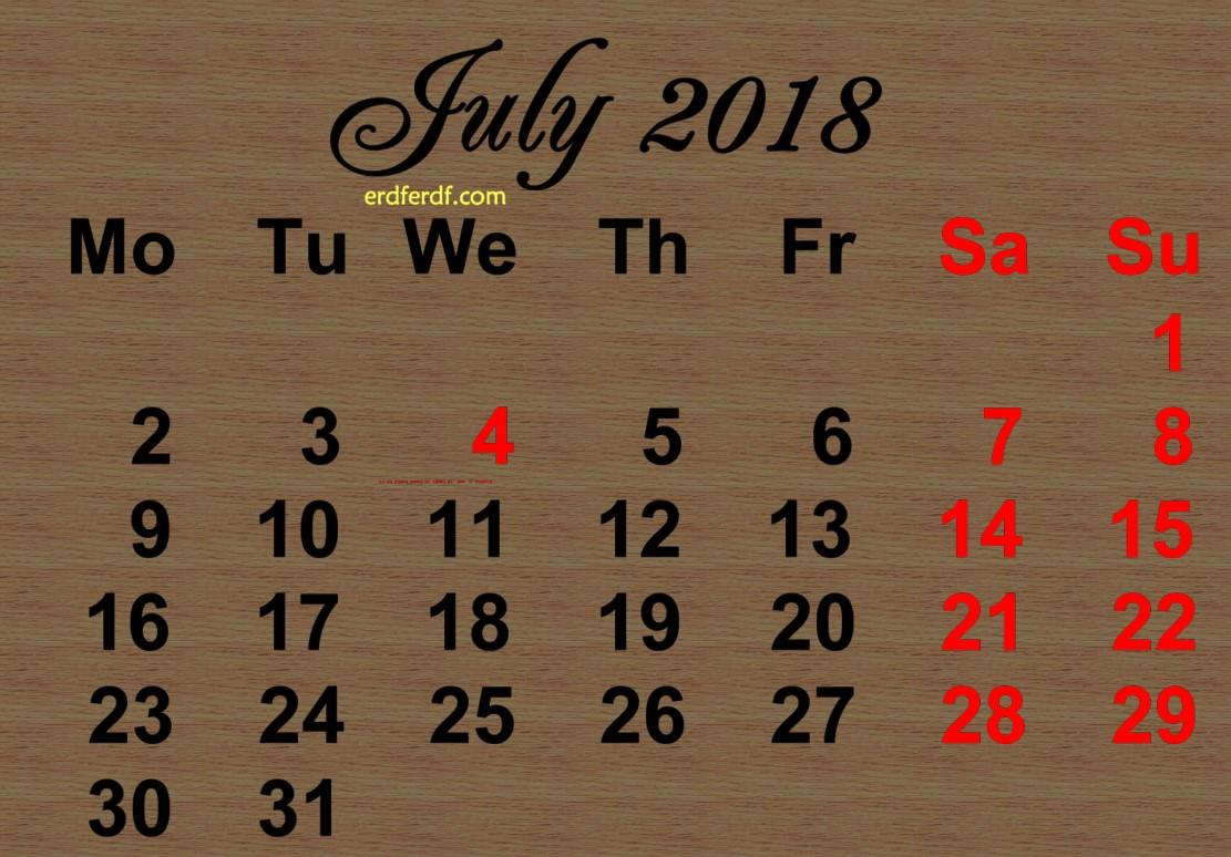 Printable July 2018 Calendar Design Saturday Sunday Highlight