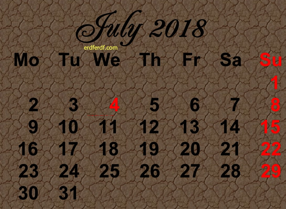 Printable July 2018 Calendar Design Sunday Higlight