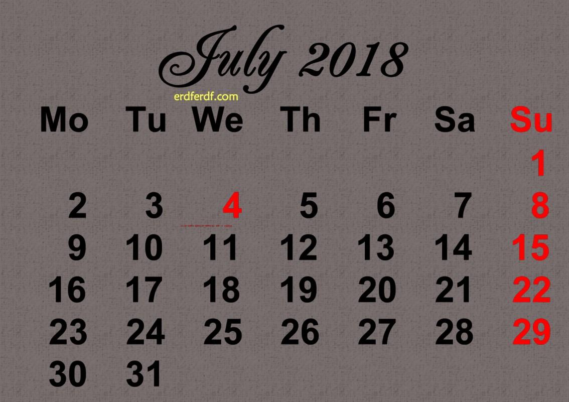Printable July 2018 Calendar Design Template