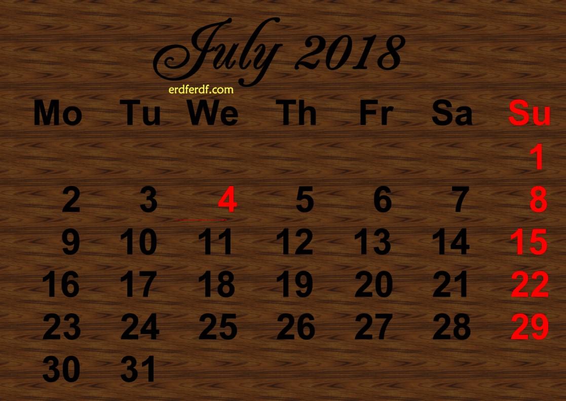 Printable July 2018 Calendar Design Wood Background