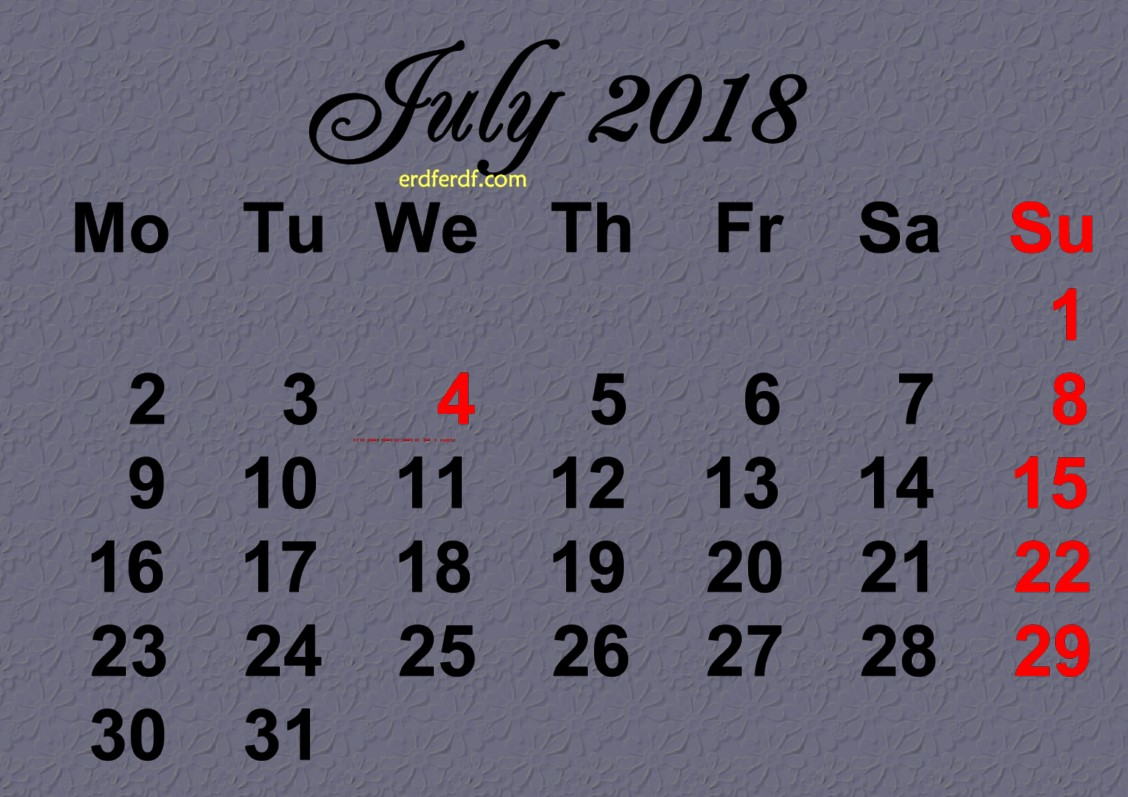 Printable July 2018 Calendar Design