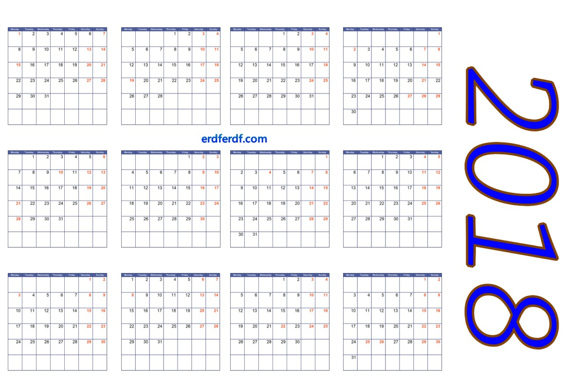 full size blank calendar pages 2018