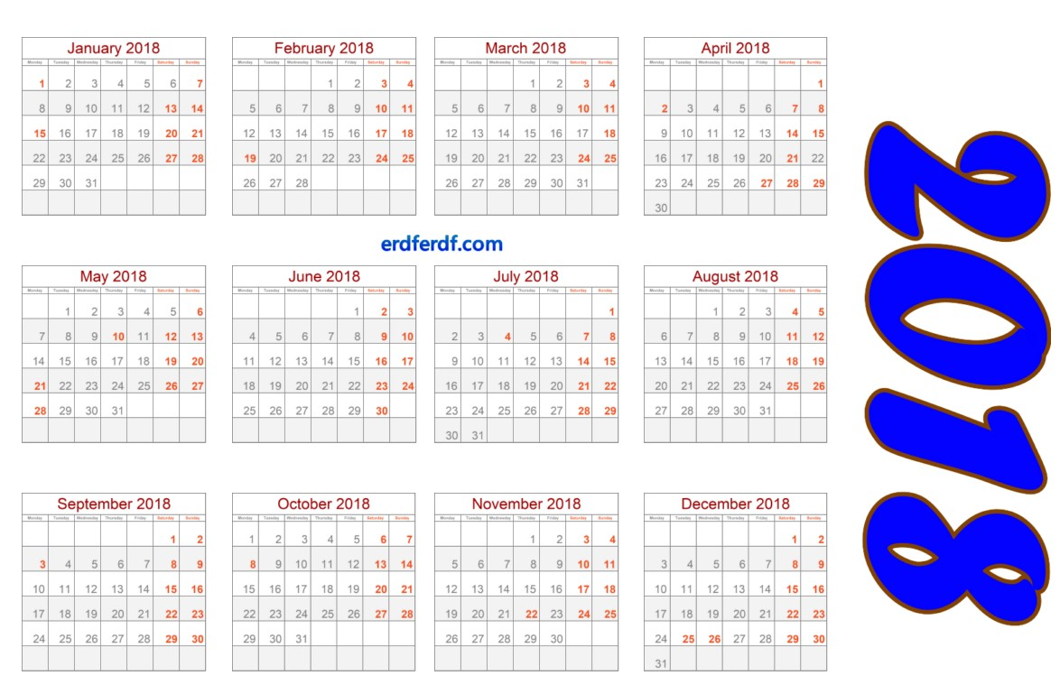 Full Size Blank Calendar 2018