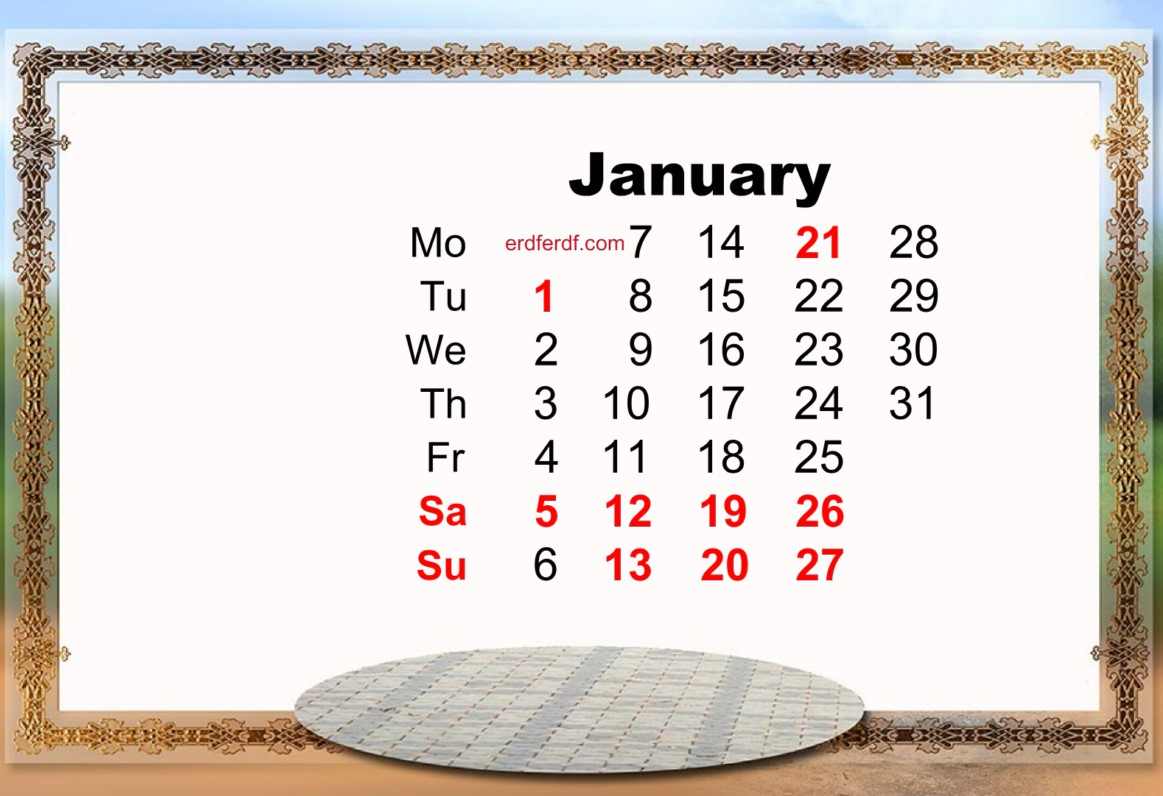january 2019 calendar template holiday
